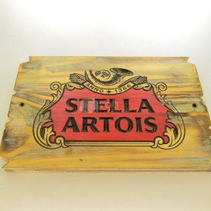 Villa General Belgrano - Besana - Cartel Tallado en Madera Stella Artois 1